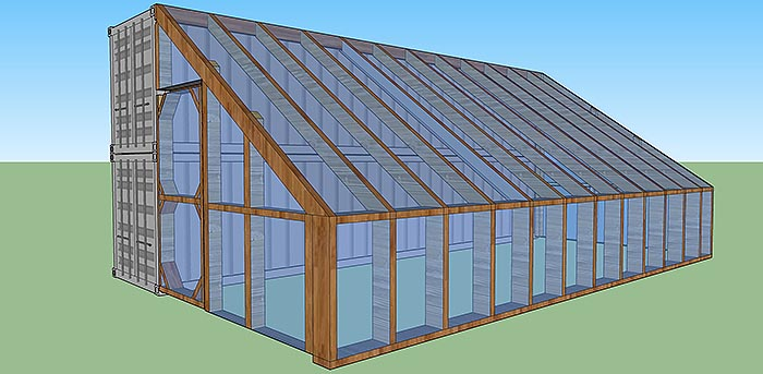 640sqft solar powered shipping container cabin with for House plans with greenhouse attached